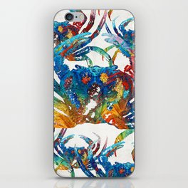 Bright Colorful Crab Collage Art by Sharon Cummings iPhone Skin