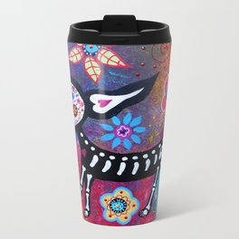 Mexican Dia de los Muertos Chihuahua Painting Metal Travel Mug