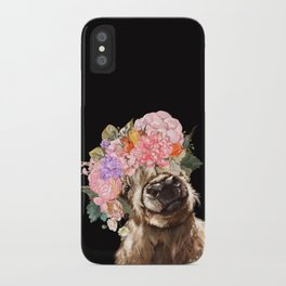 Highland Cow With Flower Crown Black iPhone Case