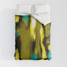 blue yellow black and white painting abstract with green background Comforters