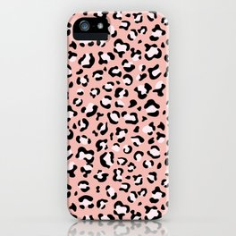 Animal Print, Spotted Leopard - Pink Black iPhone Case