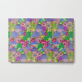 Wonderland poison mushrooms mix - colormix Metal Print