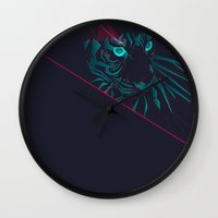zodiac Wall Clocks featuring Zodiac Tiger by Schwebewesen • Romina Lutz