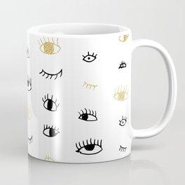 Funny fashion gold and black cute eyes pattern Coffee Mug