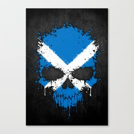 Flag of Scotland on a Chaotic Splatter Skull Canvas Print