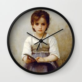 """William-Adolphe Bouguereau """"La Leçon Difficile (The difficult lesson)""""(1884) Wall Clock"""