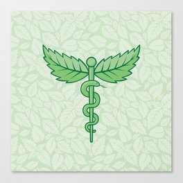 Caduceus with leaves Canvas Print