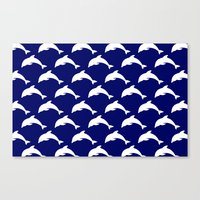 dolphins Canvas Prints featuring Dolphins by The Wellington Boot