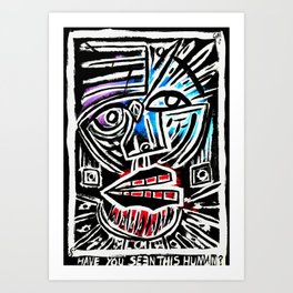 """""""Excuse me?"""" Abstract Face Painting Art Print"""