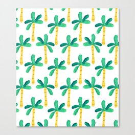 Watercolor Palm Trees in Yellow Canvas Print