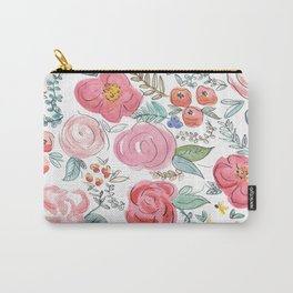 Watercolor Floral Print Carry-All Pouch