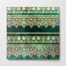 Vintage lace on Green velvet. Metal Print