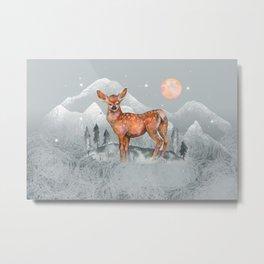 Deer Peaceful night Metal Print