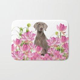 Weimaraner Lotos Flowers Bath Mat