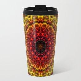 Fiery Fractal Mandala Travel Mug