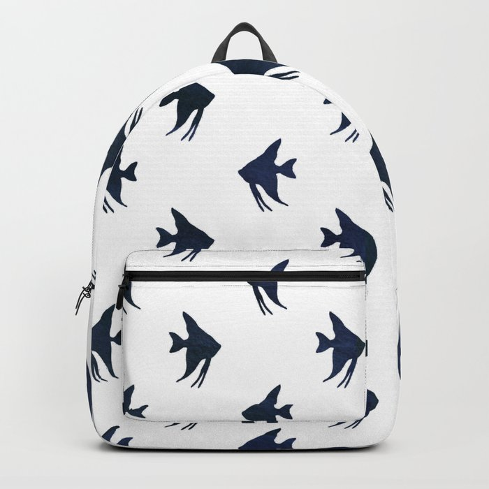 Navy blue and white maritime sea fish animal pattern on #Society6 Backpack