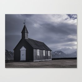 Budakirkja, the black church Canvas Print