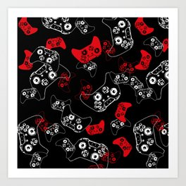 Video Game Red on Black Art Print