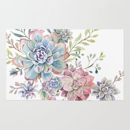 succulent watercolor 6 Rug