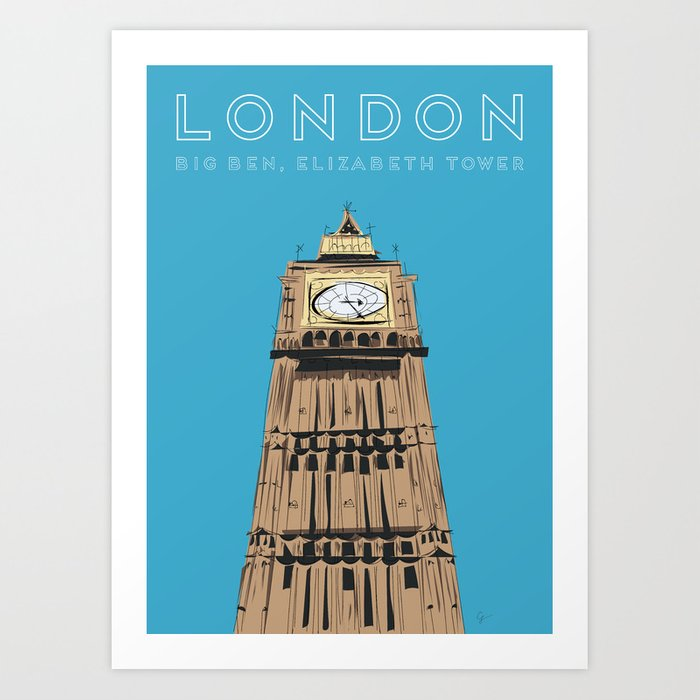 London Big Ben Travel Poster Art Print