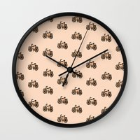 bikes Wall Clocks featuring Bikes by andy_panda_