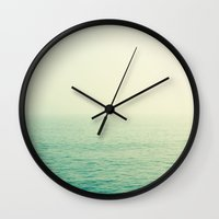 channel Wall Clocks featuring English Channel by Hilary Upton