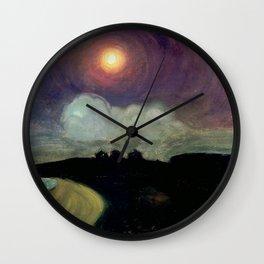 The Killing Moon nighttime beach landscape by Gustaw Gwozdecki Wall Clock