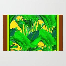 COFFEE BROWN TROPICAL GREEN & GOLD FOLIAGE ART Rug