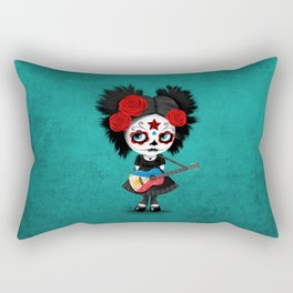 Day of the Dead Girl Playing Filipino Flag Guitar Rectangular Pillow