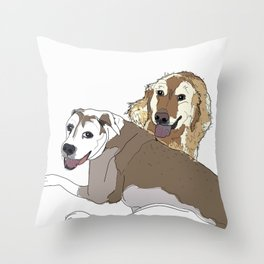 Family Dog Pack Throw Pillow