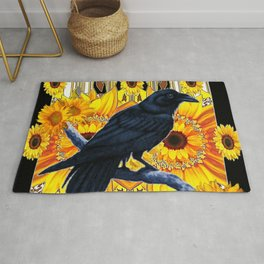 GRAPHIC BLACK CROW & YELLOW SUNFLOWERS ABSTRACT Rug
