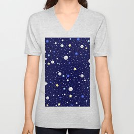 Universe pattern; Moon, Stars and Neptune Unisex V-Neck