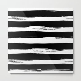 Paint Stripes Black and White Metal Print