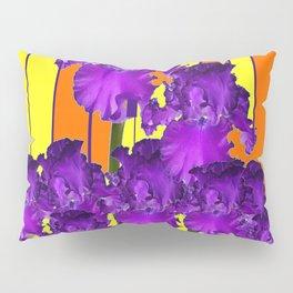 Decorative Contemporary Purple Yellow Iris Orange Garden Art Pillow Sham