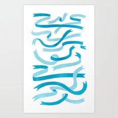 Ribbons (Blue) Art Print