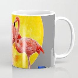 PINK FLAMINGOS FULL MOON BLUE LILIES Coffee Mug