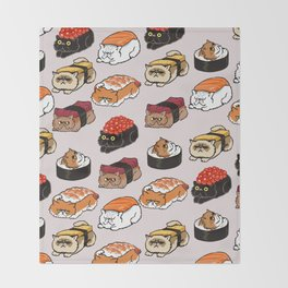 Sushi Persian Cat Throw Blanket