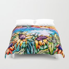 Summer Sunflowers - Stained Glass Watercolor Duvet Cover