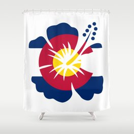Colorado Hibiscus Flag Shower Curtain