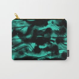 Moody Neon Mint Green Fog All Over Painting Texture with Streaky Leaks. Trendy Abstract Dark Mood Carry-All Pouch
