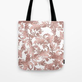Chic girly rose gold glitter floral Tote Bag