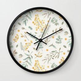 Australian wattle and eucalyptus watercolor floral Wall Clock