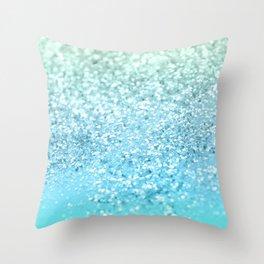 Seafoam Aqua Ocean MERMAID Girls Glitter #1 #shiny #decor #art #society6 Throw Pillow