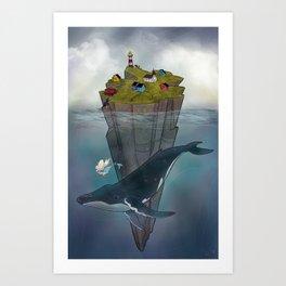 Mermaid and Whale Art Print