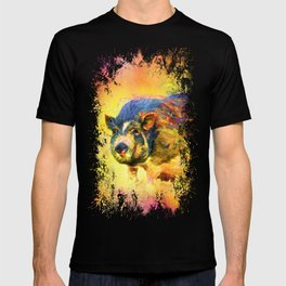 Jazzy Pig Colorful Animal Art by Jai Johnson T-shirt
