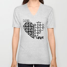 Mod Love Black/White Dots Circles Unisex V-Neck