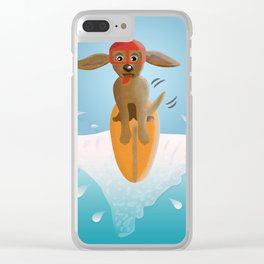 Surf Dog on Top of the Wave Clear iPhone Case