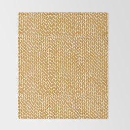 Hand Knit Orange Throw Blanket