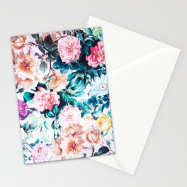 Modern blush pink green watercolor roses floral Stationery Cards