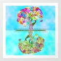 Cute Whimsical Bright Floral Tree Collage Teal Sky by girlytrend